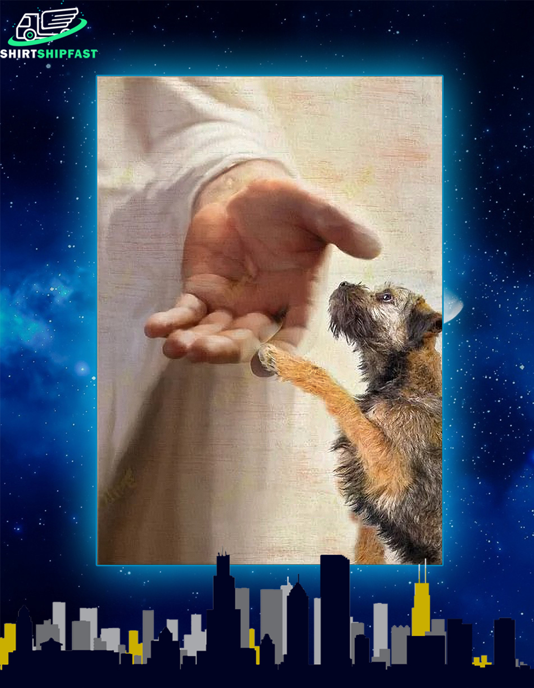 God jesus Border Terrier take my hand canvas - Picture 2