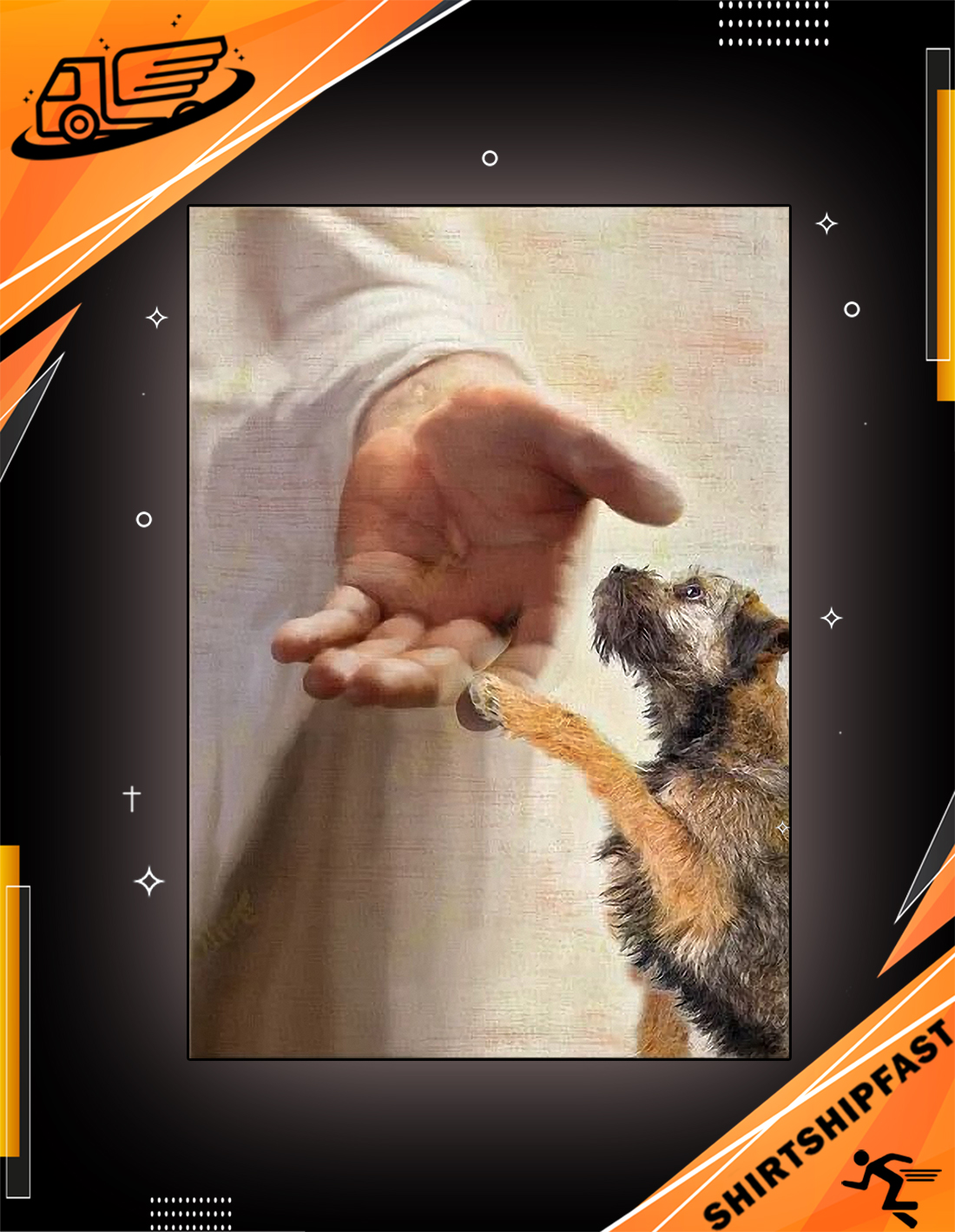 God jesus Border Terrier take my hand canvas - Picture 3