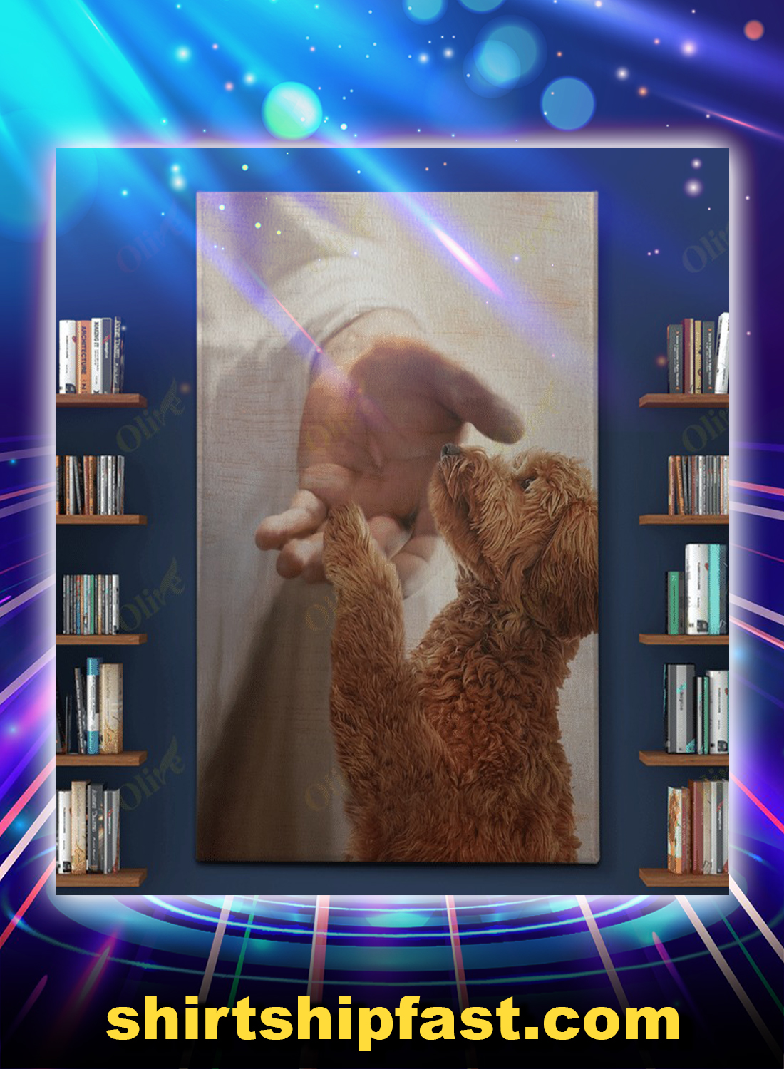 God jesus Goldendoodle take my hand canvas - Picture 1