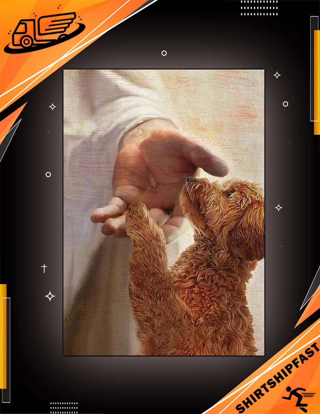 God jesus Goldendoodle take my hand canvas - Picture 3