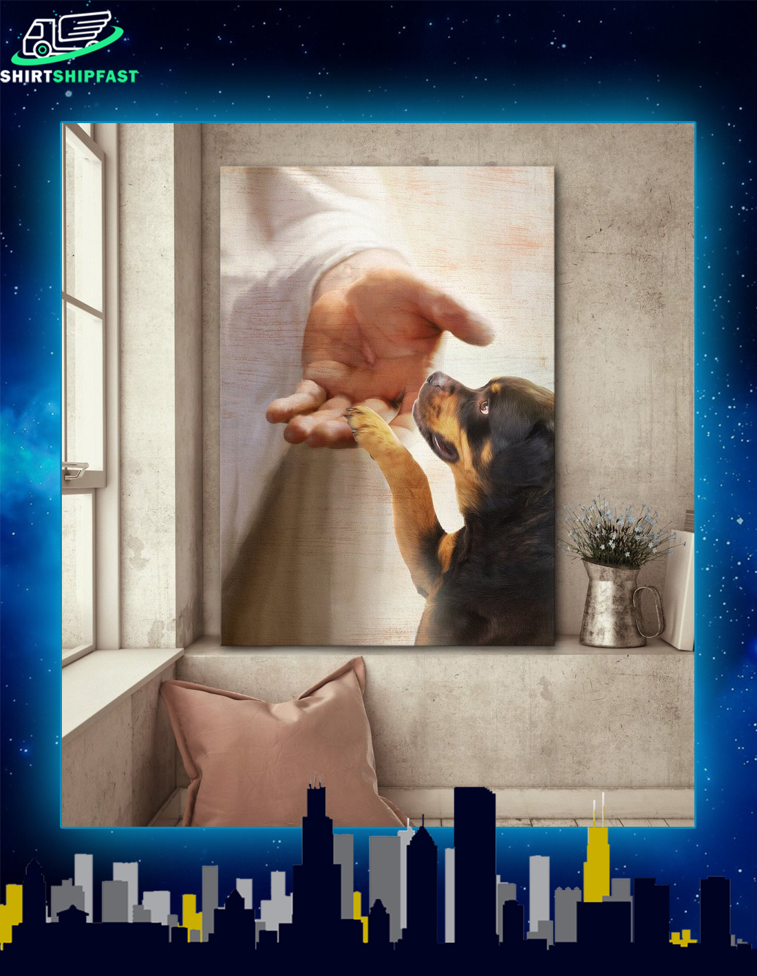 God jesus Rottweiler take my hand canvas prints - Picture 1