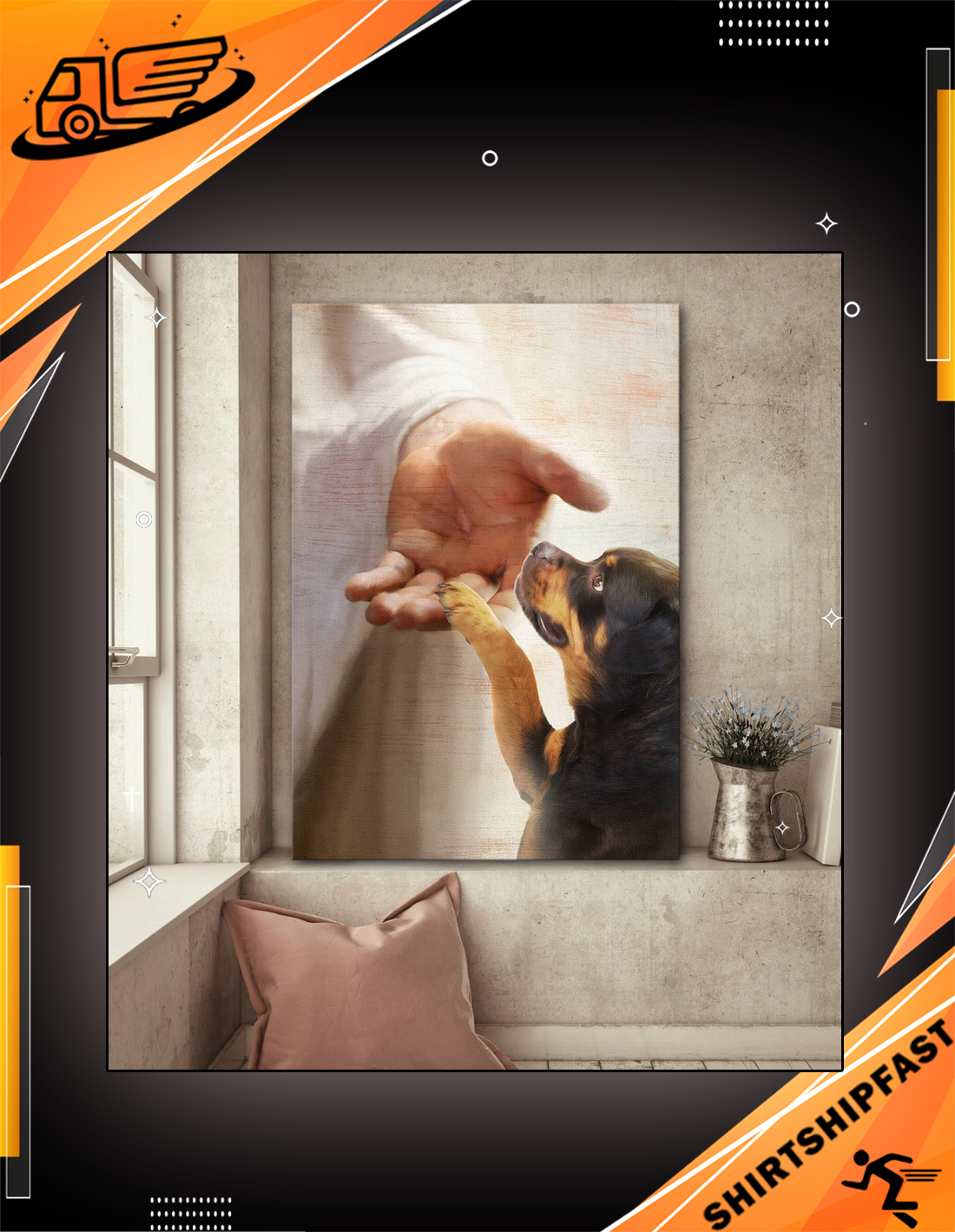 God jesus Rottweiler take my hand canvas prints - Picture 2