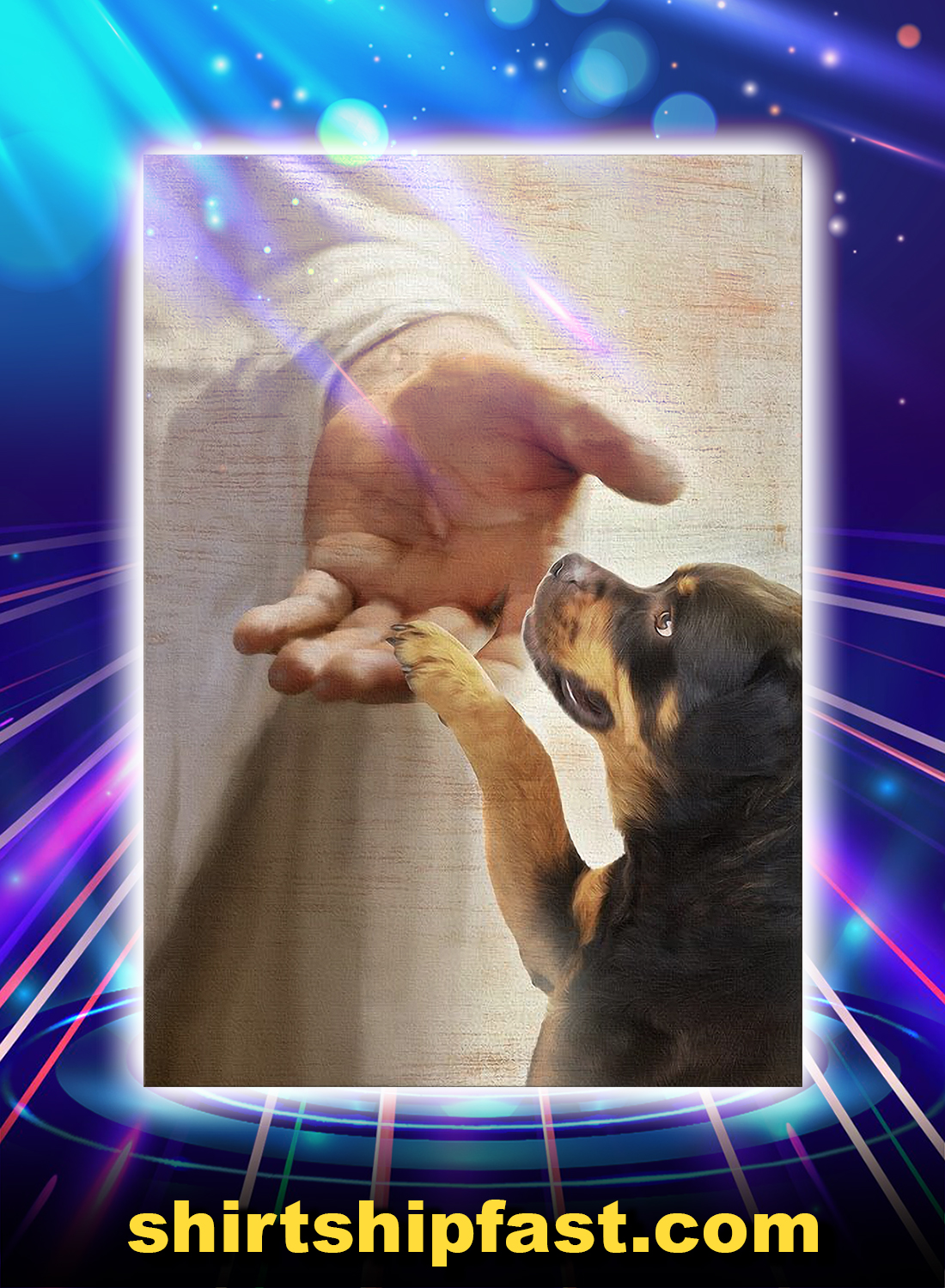 God jesus Rottweiler take my hand canvas prints - Picture 3