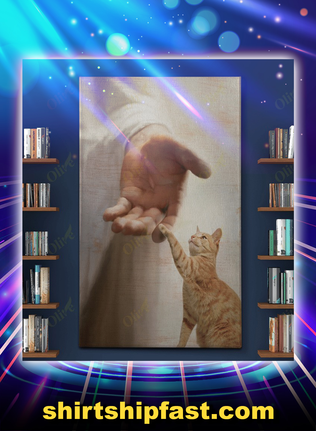 God jesus Yellow cat take my hand canvas - Picture 1