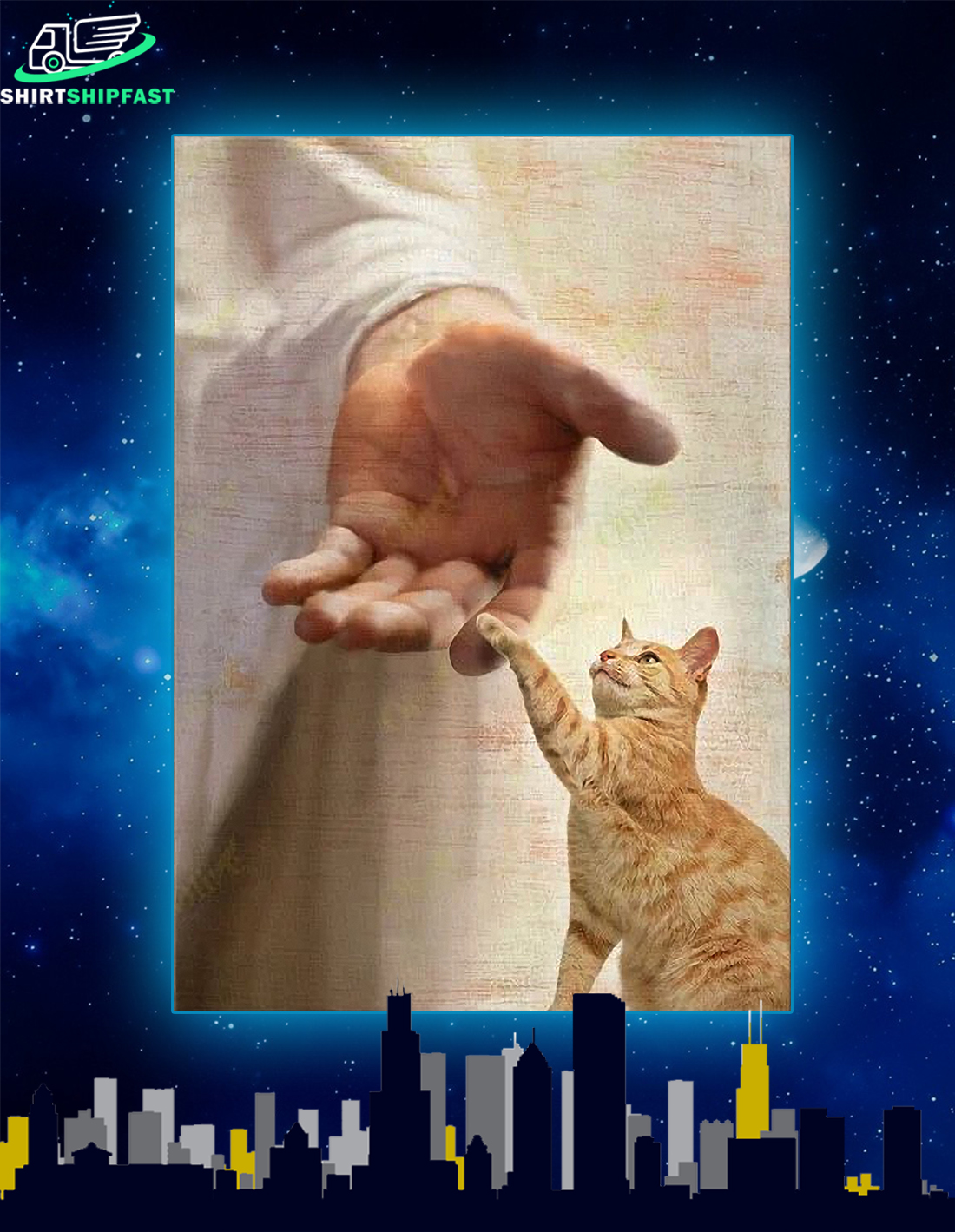 God jesus Yellow cat take my hand canvas - Picture 2