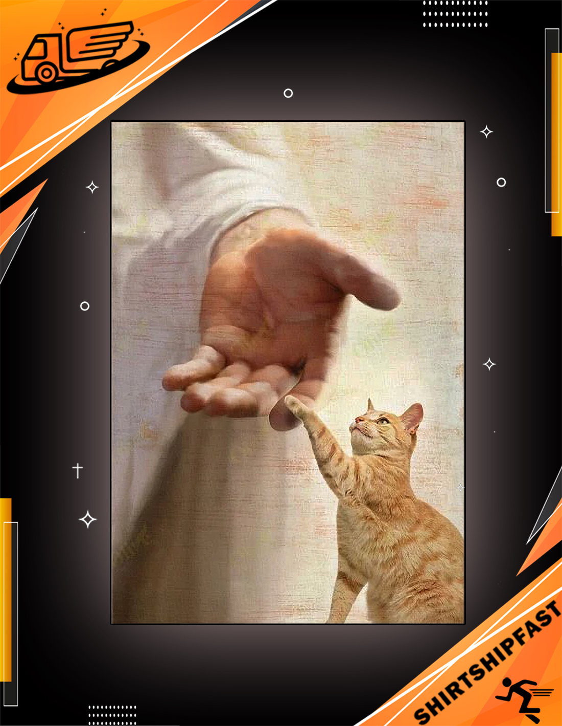 God jesus Yellow cat take my hand canvas - Picture 3