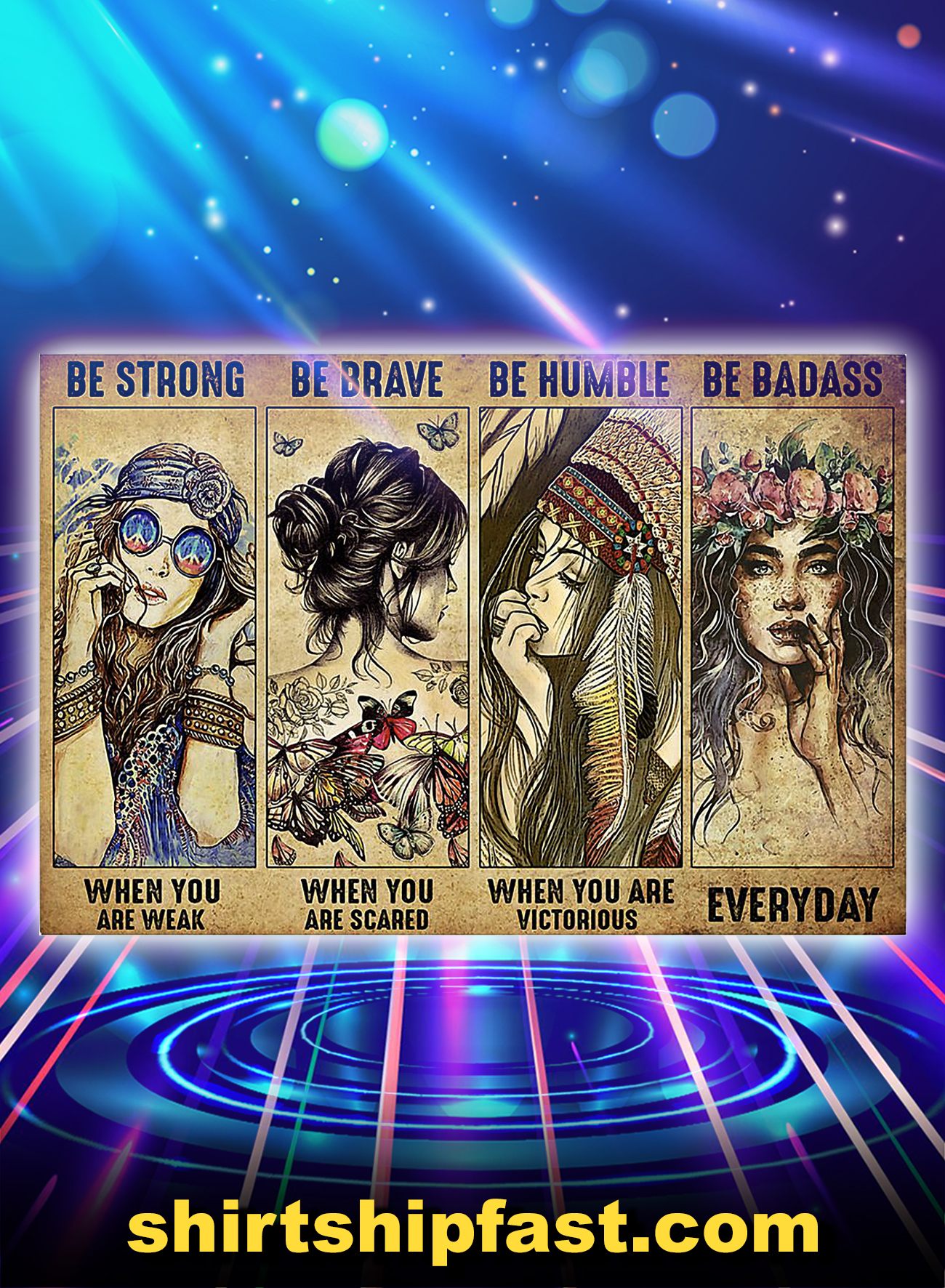 Hippie girl be strong be brave be humble be badass poster - A4