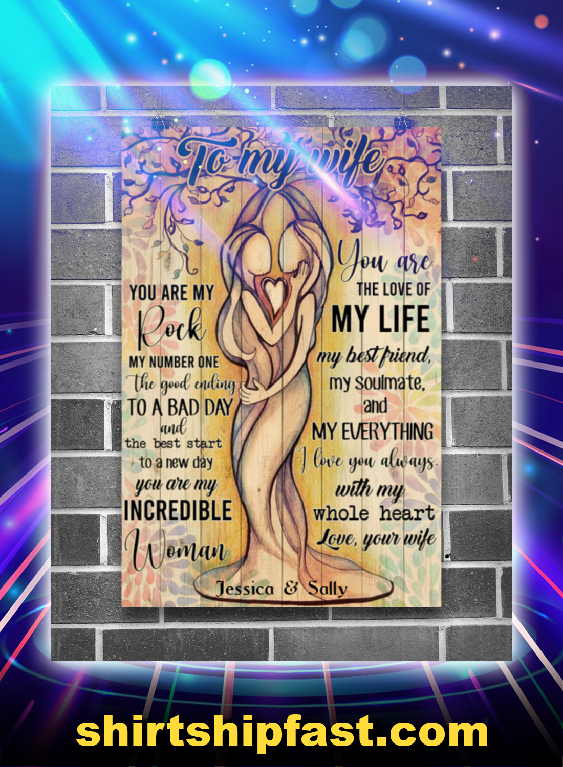 Lesbian to my wife personalized custom name poster