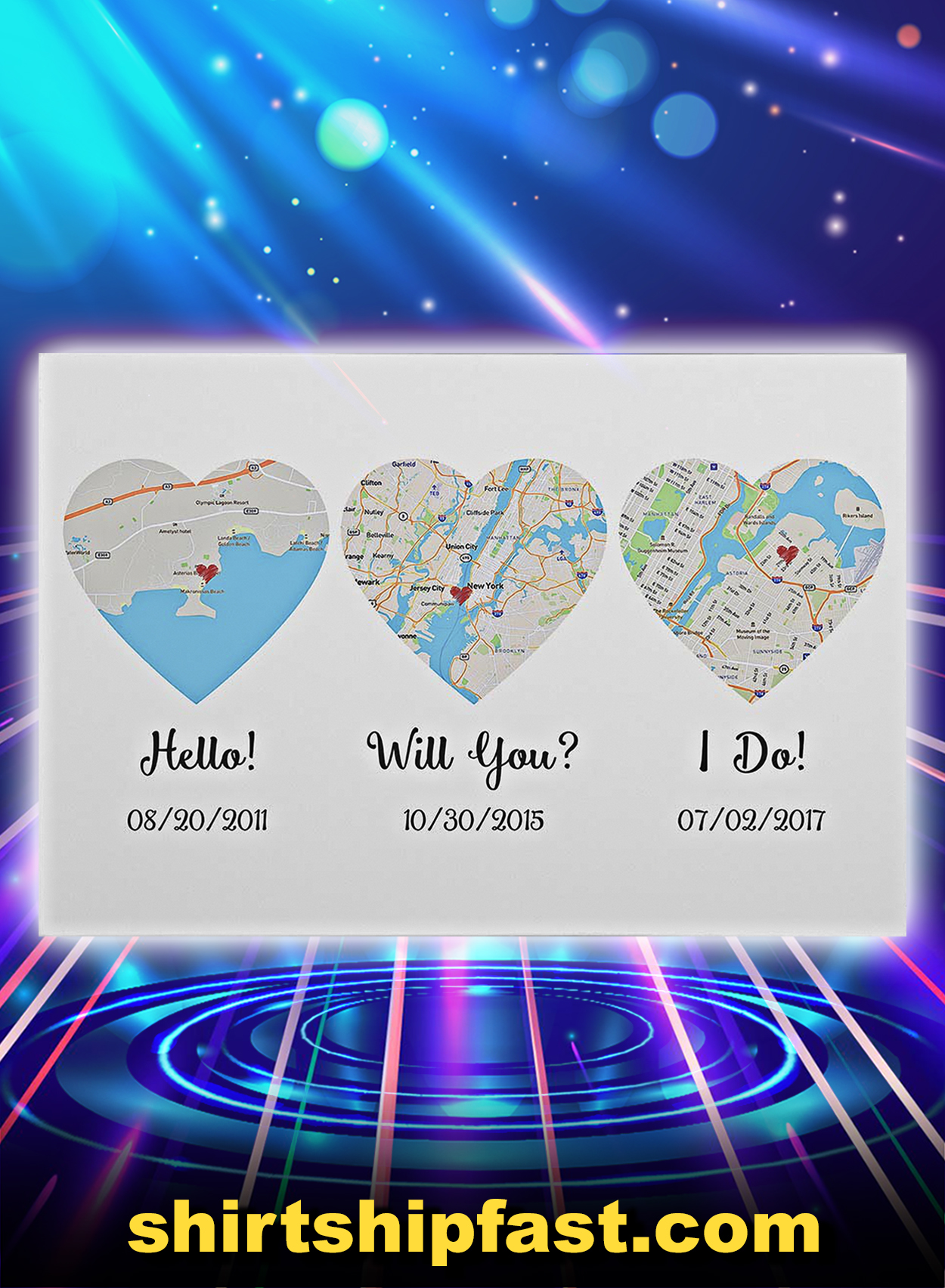 Map hello will you i do poster - A2
