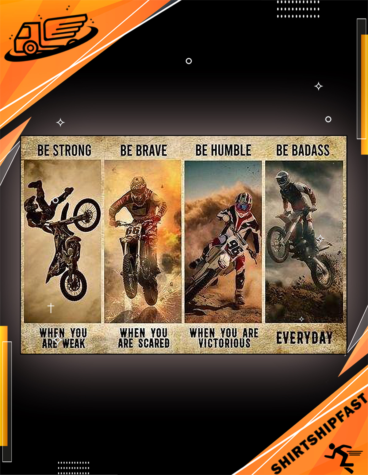 Motor be strong be brave be humble be badass canvas
