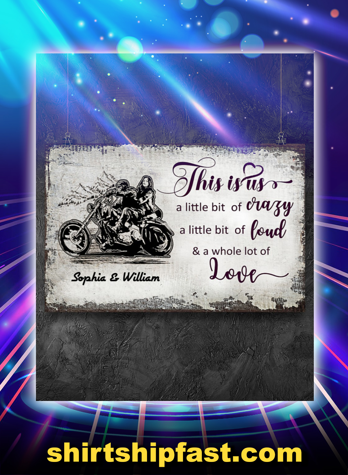 Motorcycle this is us a little bit of crazy personalized poster - Picture 2