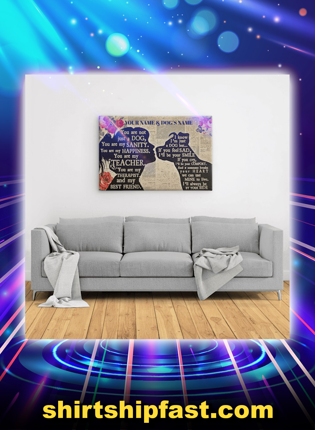 Personalized custom name Pitbull girl therapist best friend canvas prints - Picture 1
