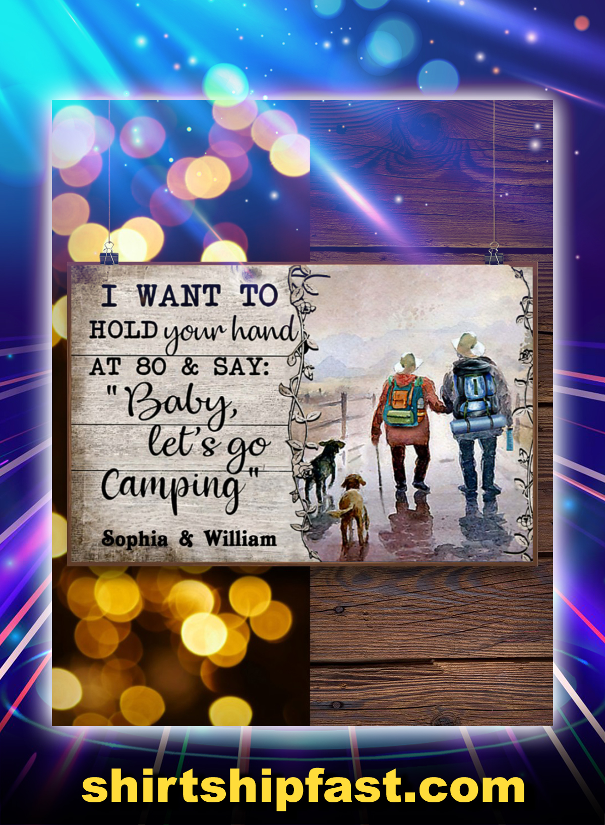 Personalized customize name Husband Wife Camping I want to hold your hand at 80 and say baby let's go camping poster - Picture 1