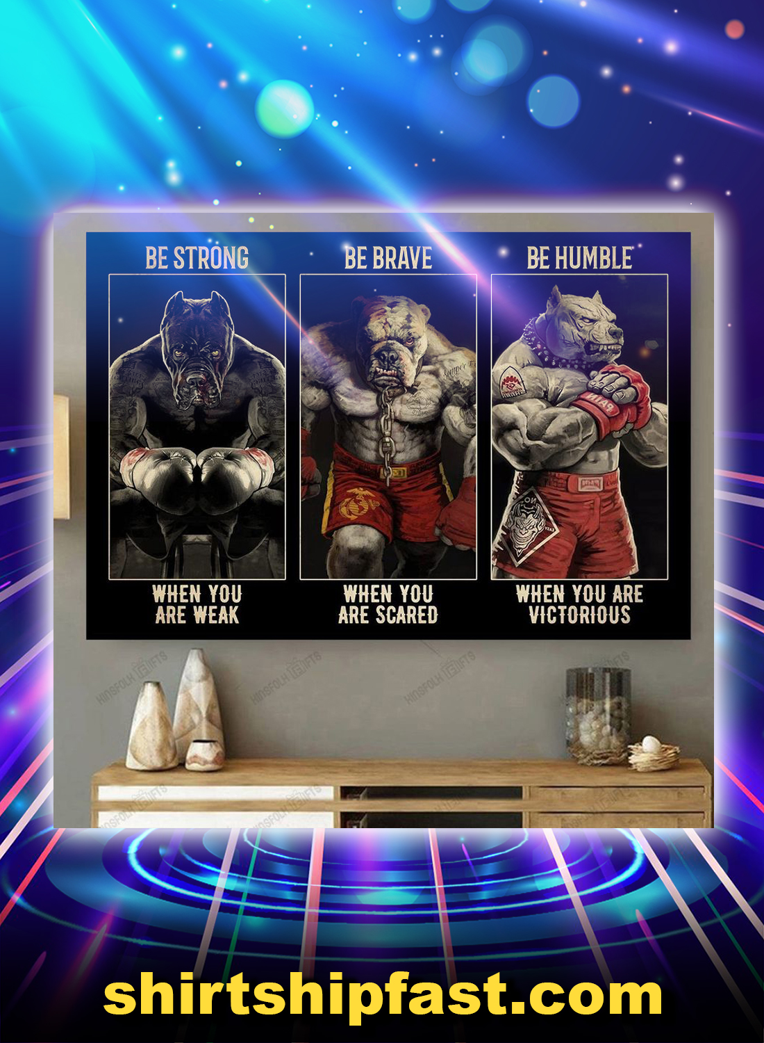 Pitbull boxing be strong be brave be humble canvas prints