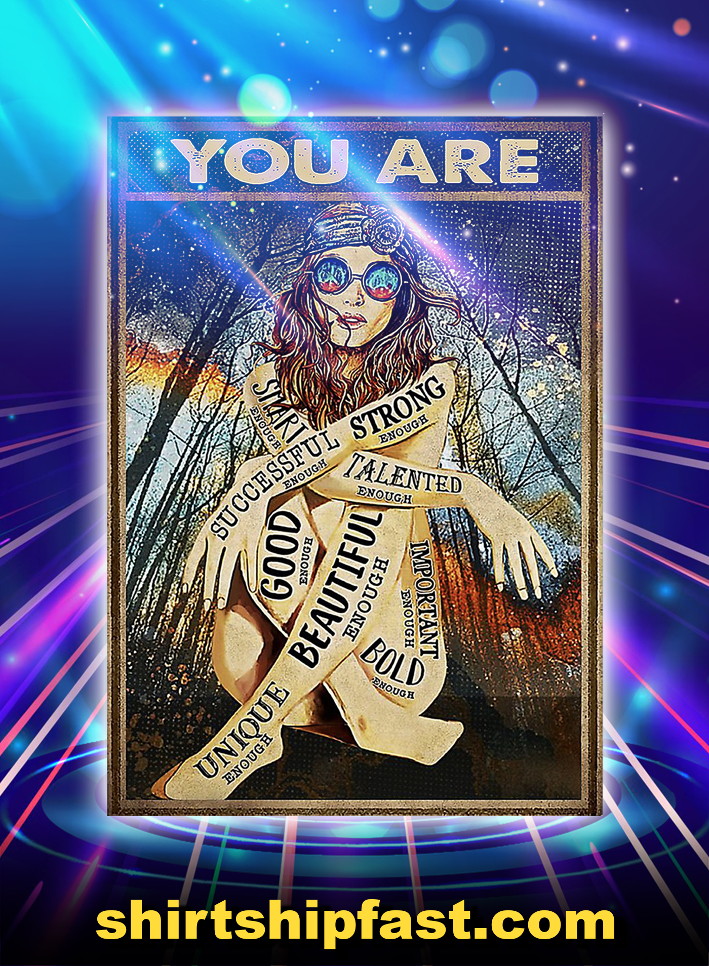 Poster Hippie girl glasses you are - A1