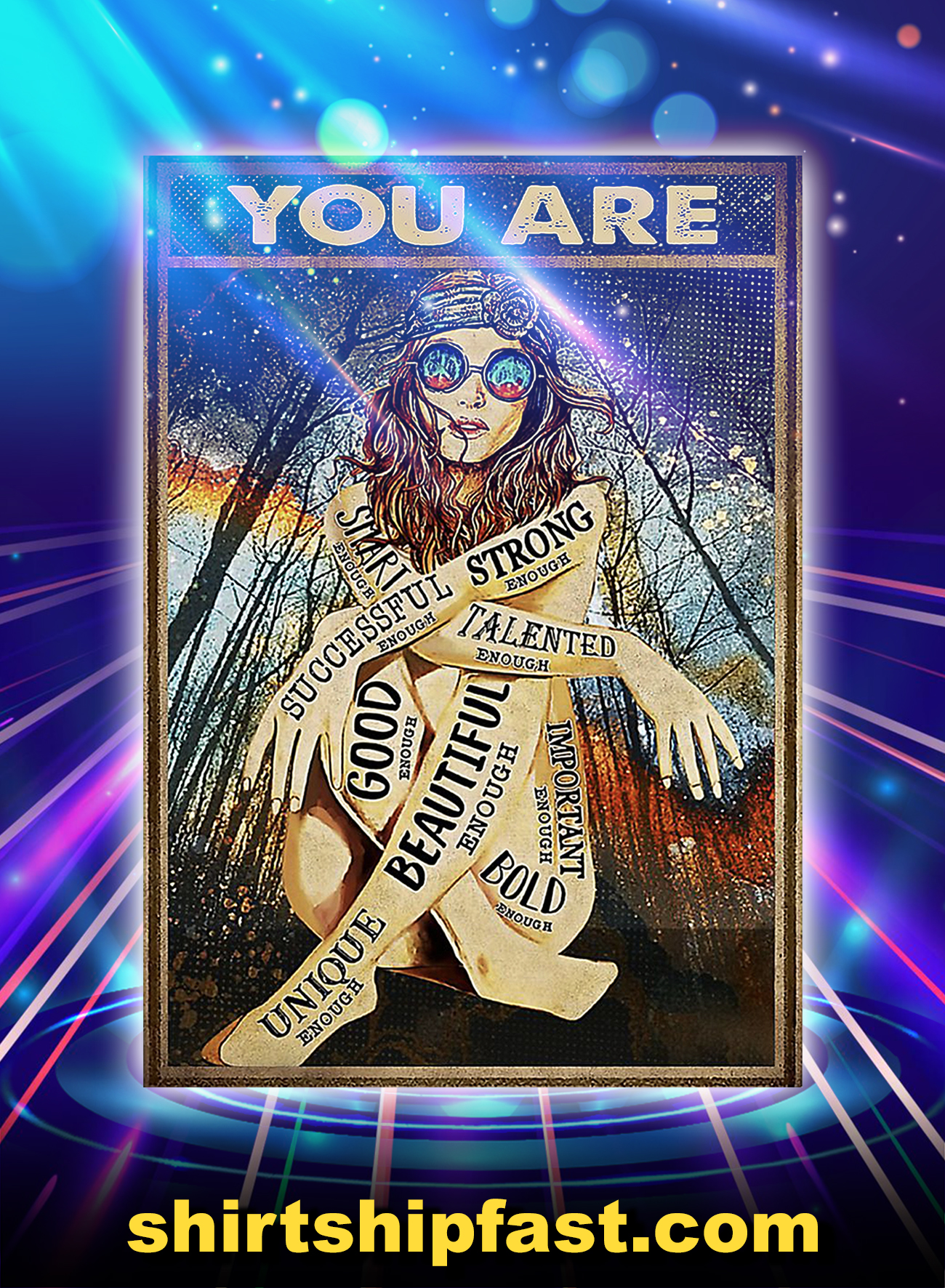 Poster Hippie girl glasses you are - A4