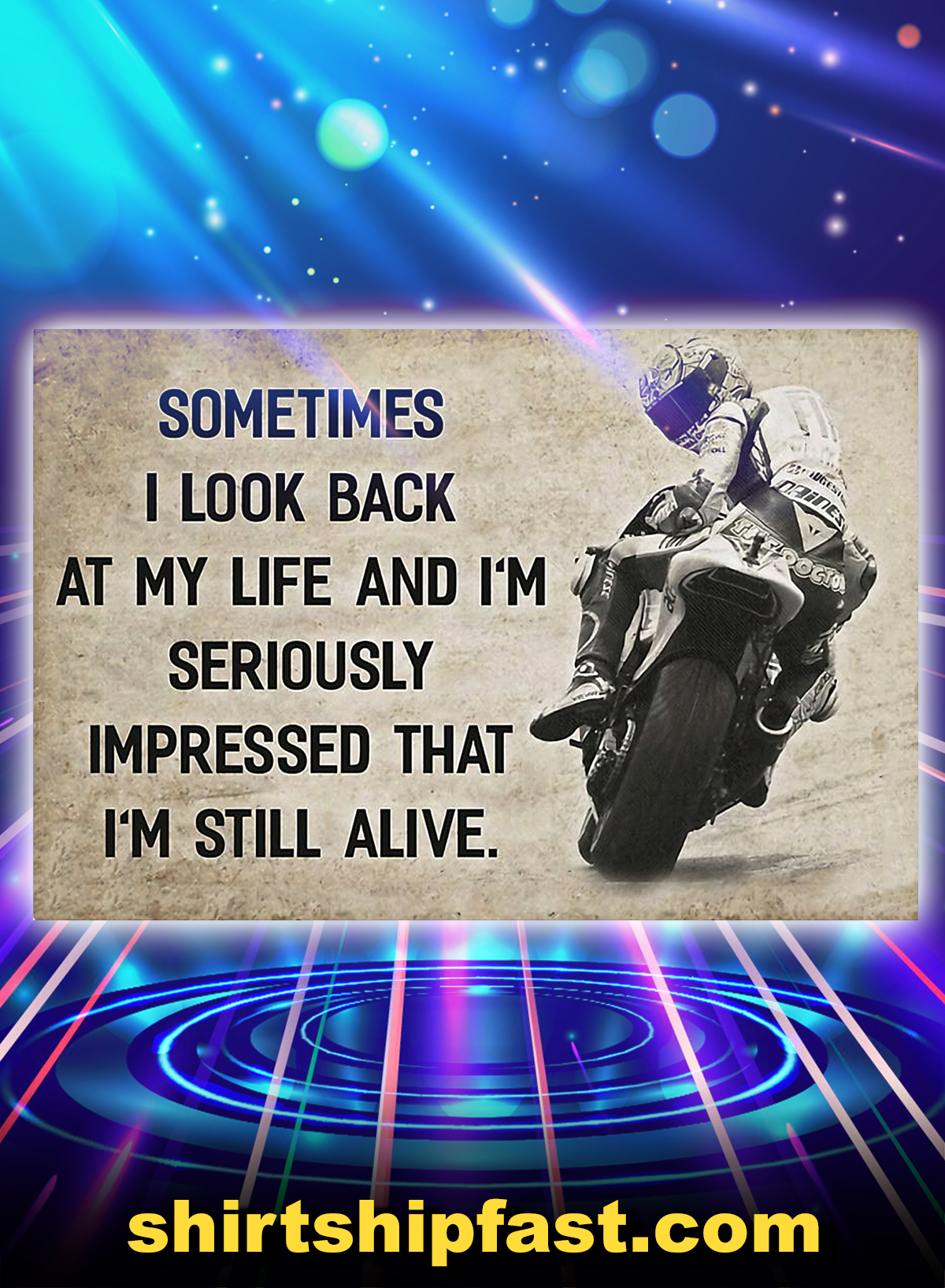 Poster Motorcycle racing sometimes i look back at my life