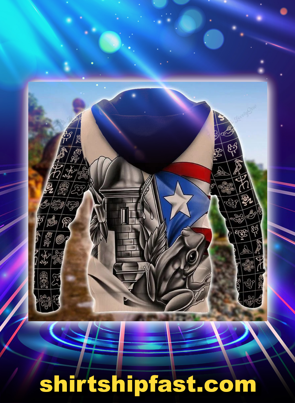Sol taino personalized custom name 3d hoodie - Back