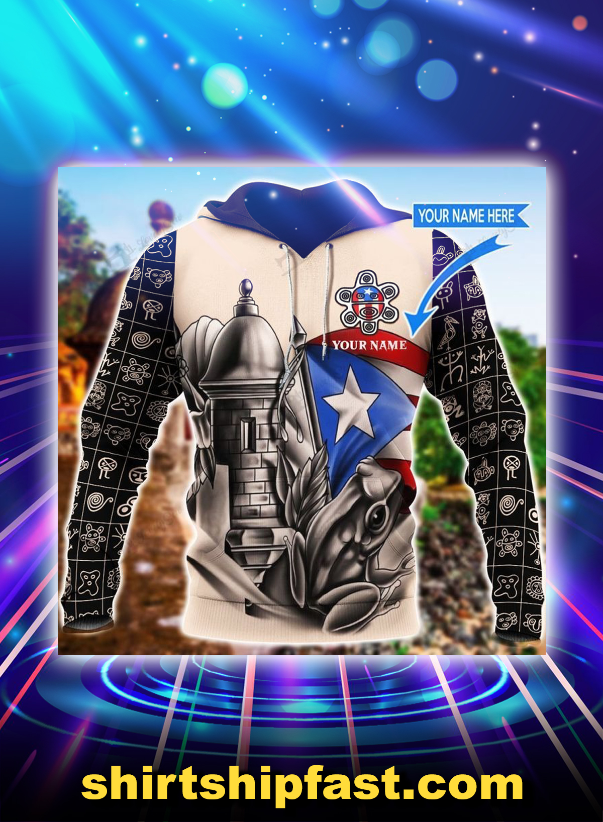 Sol taino personalized custom name 3d hoodie - Front