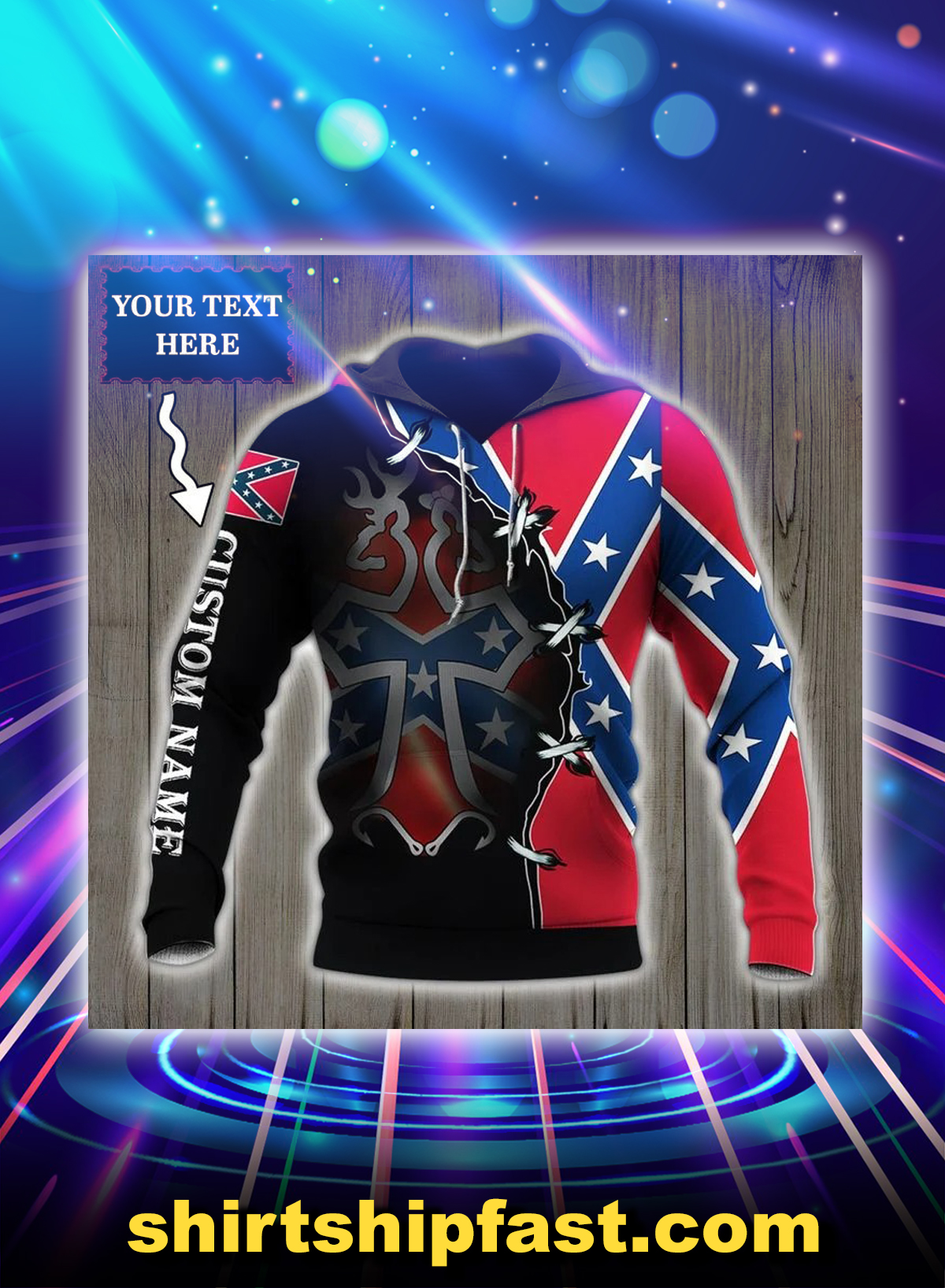 Southern deer head flag personalized custom name 3d hoodie - Picture 1