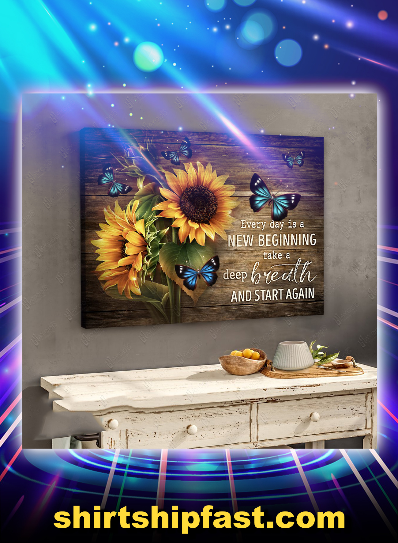 Sunflower butterfly everyday is a new beginning canvas prints