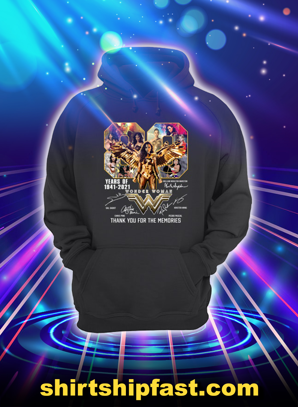 Wonder woman 80 years of 1841 2021 thank you for the memories hoodie