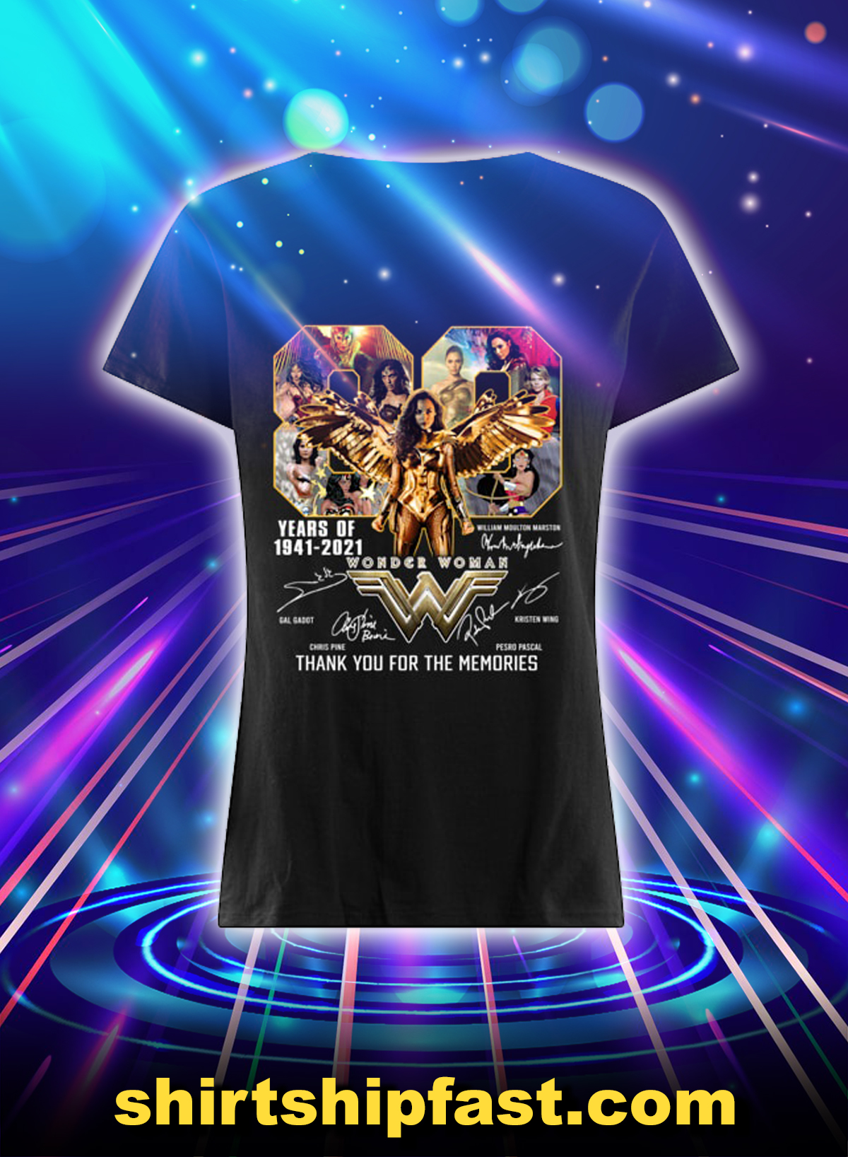 Wonder woman 80 years of 1841 2021 thank you for the memories lady shirt