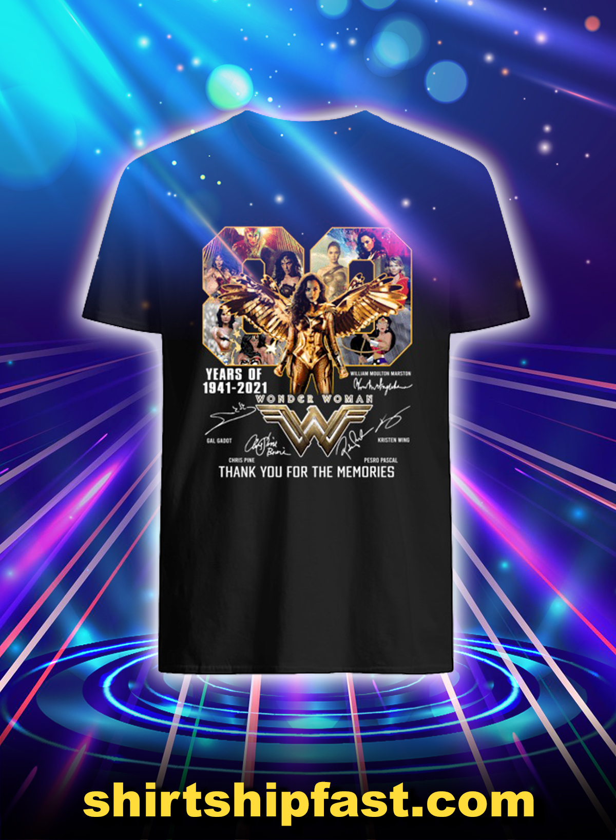 Wonder woman 80 years of 1841 2021 thank you for the memories shirt