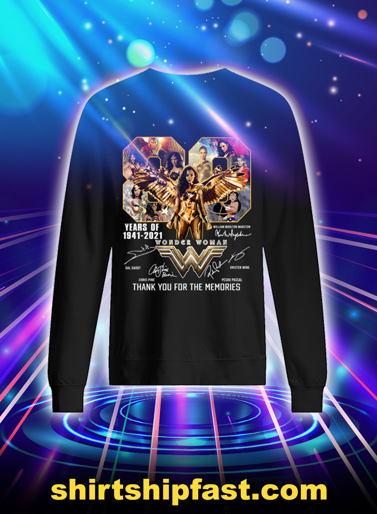 Wonder woman 80 years of 1841 2021 thank you for the memories sweatshirt
