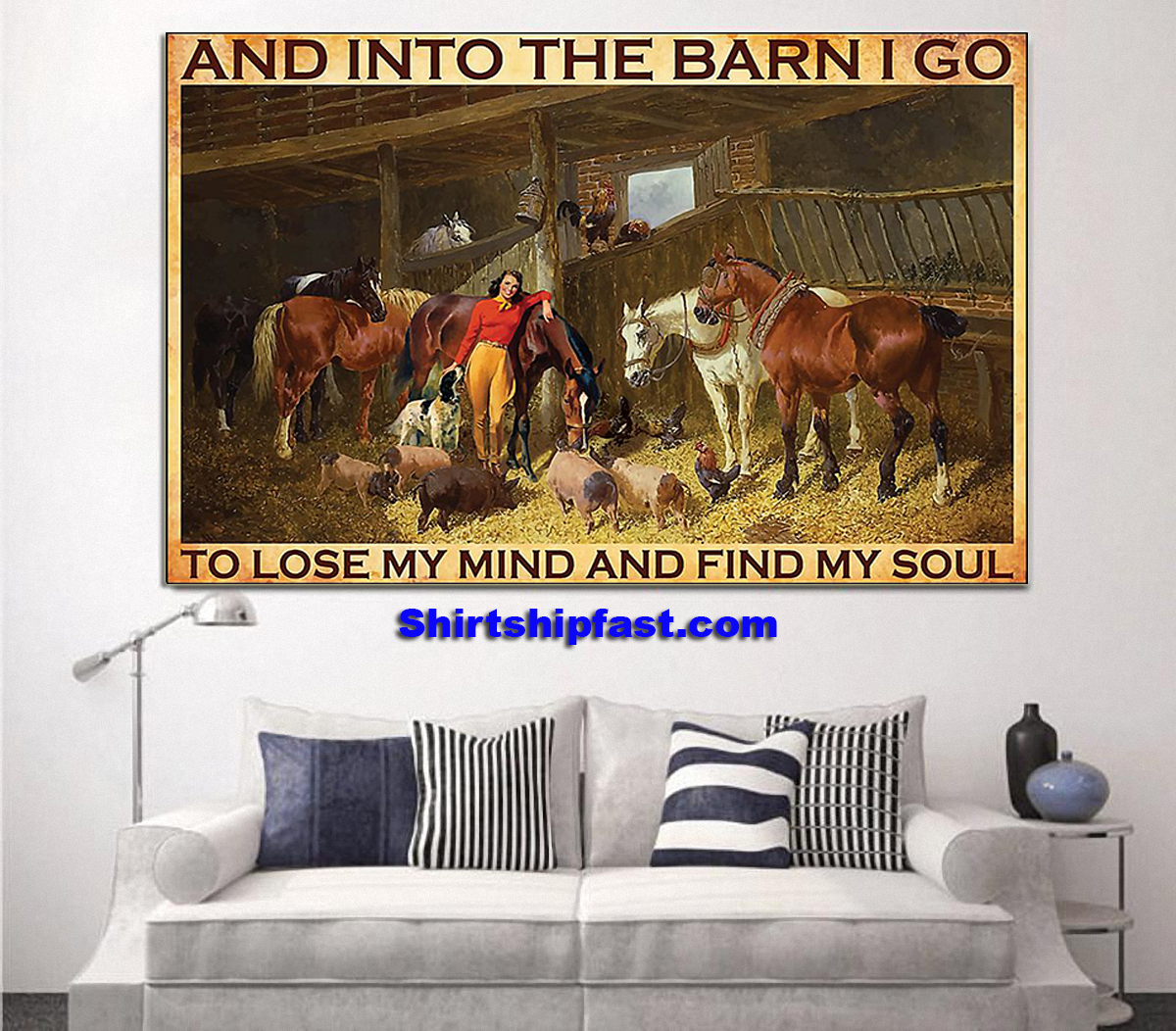 And into the barn Cowgirl poster - Picture 1