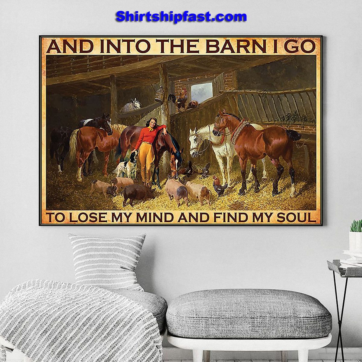 And into the barn Cowgirl poster - Picture 3