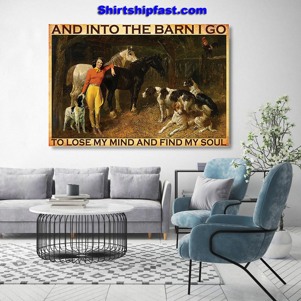 And into the barn I go to lose my mind Cowgirl poster - Picture 1