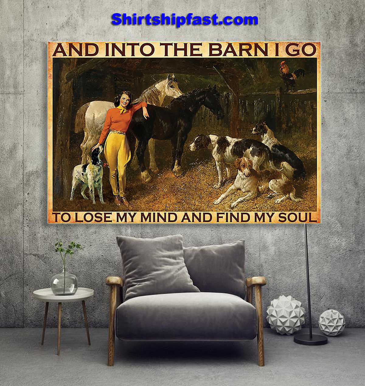 And into the barn I go to lose my mind Cowgirl poster - Picture 2