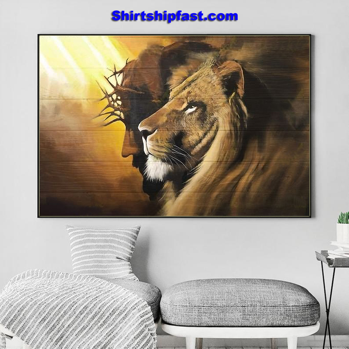Awesome lion and god canvas - Picture 1