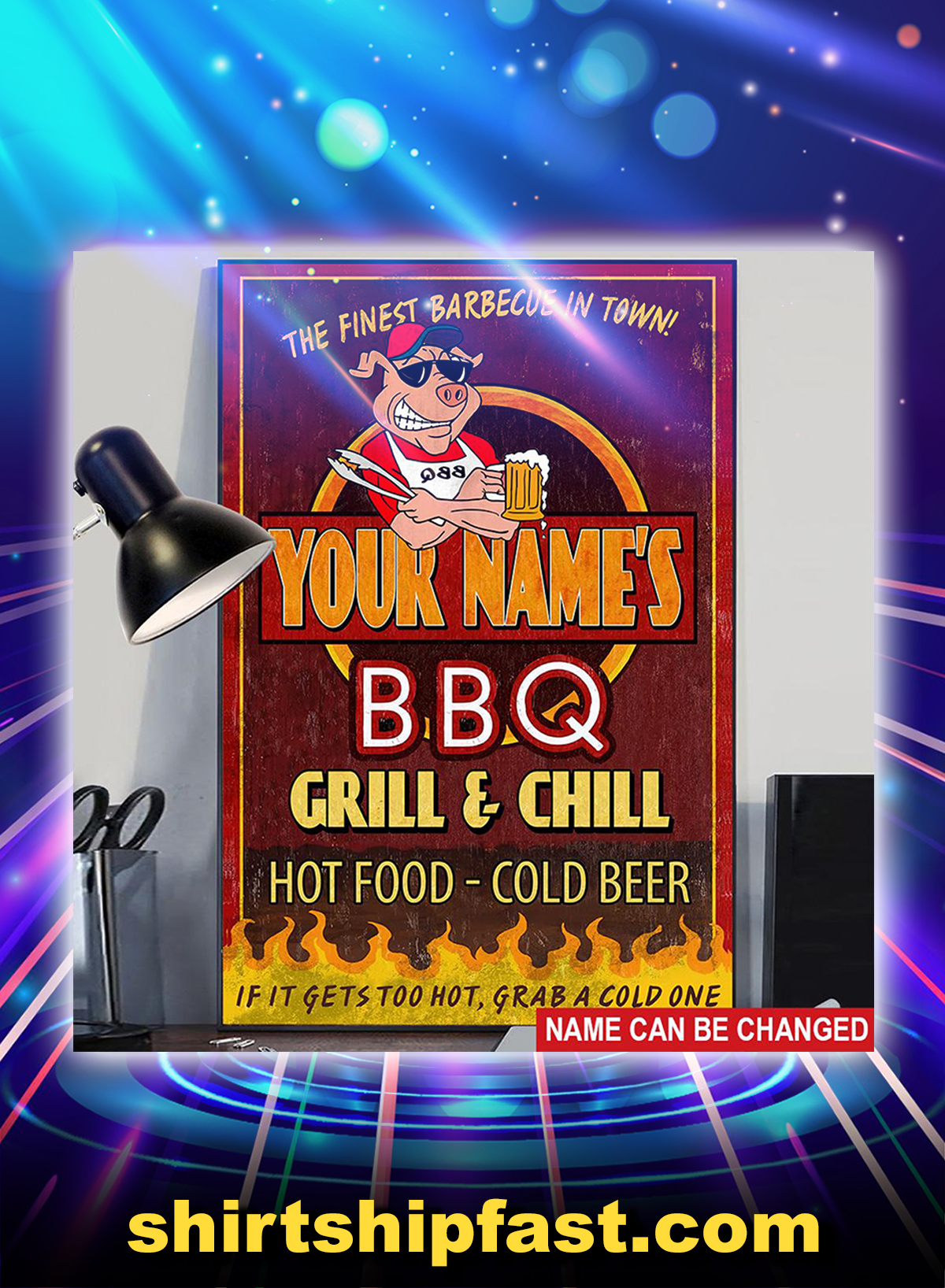 BBQ it gets too hot grab a cold one custom name poster - Picture 1