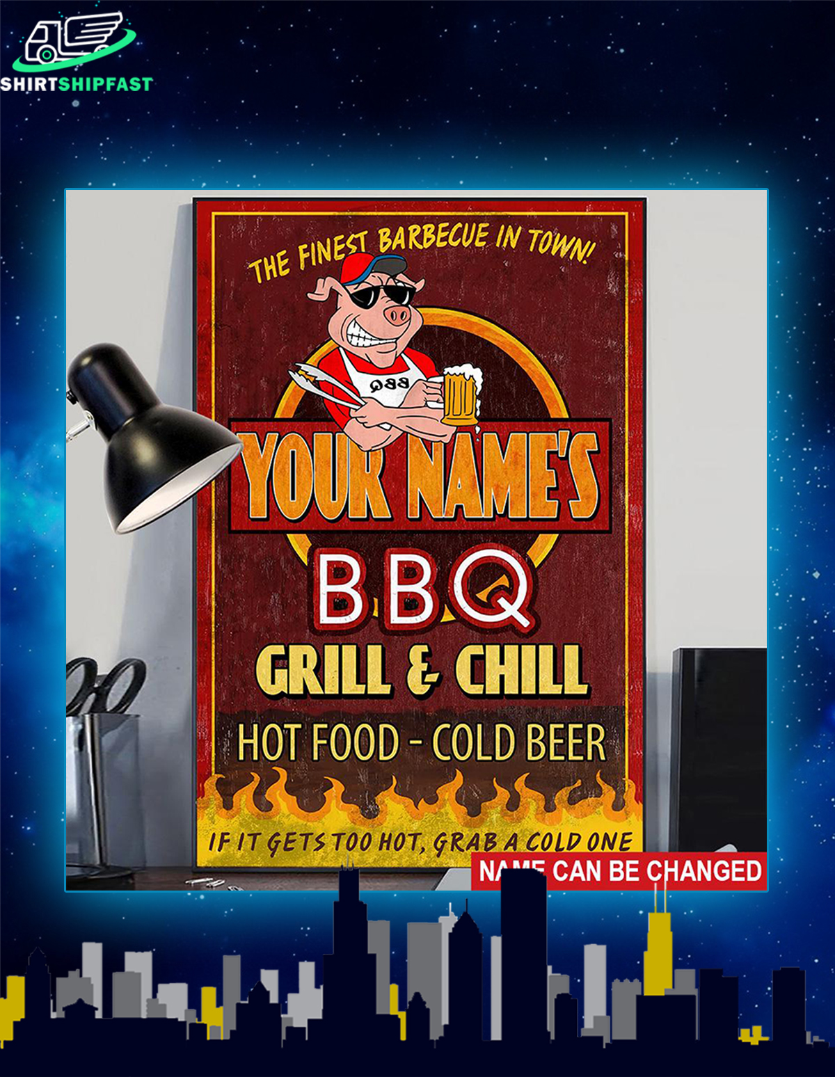 BBQ it gets too hot grab a cold one custom name poster - Picture 2