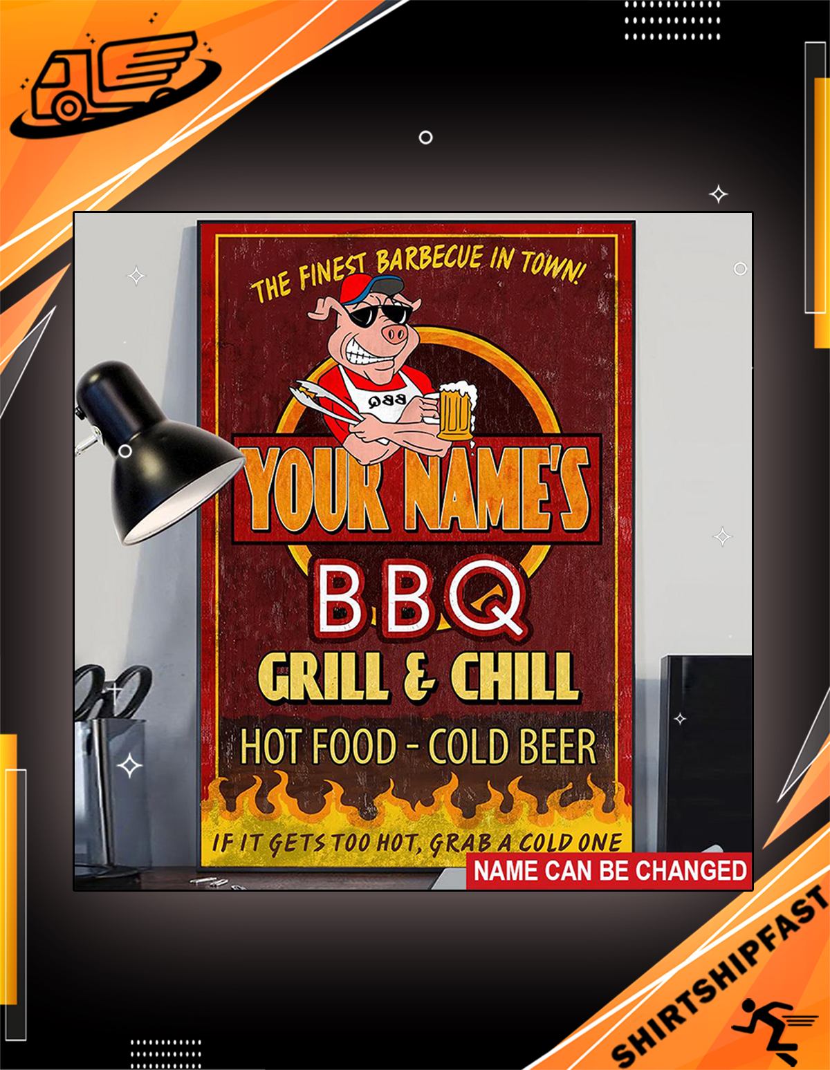 BBQ it gets too hot grab a cold one custom name poster - Picture 3