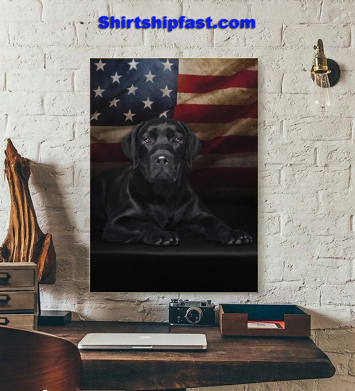 Black Labrador American flag canvas