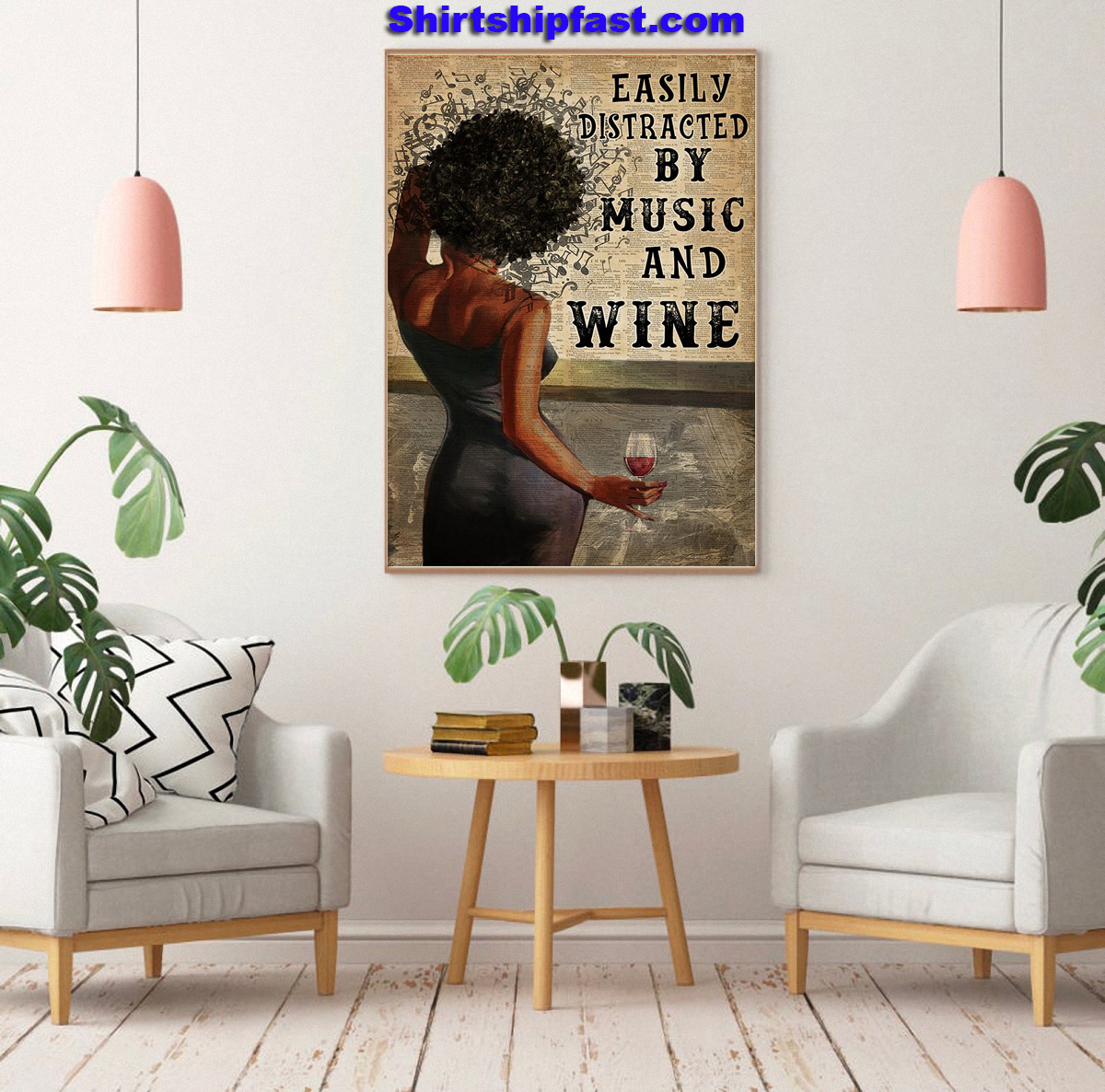 Black Woman easily distracted by music and wine canvas - Picture 1