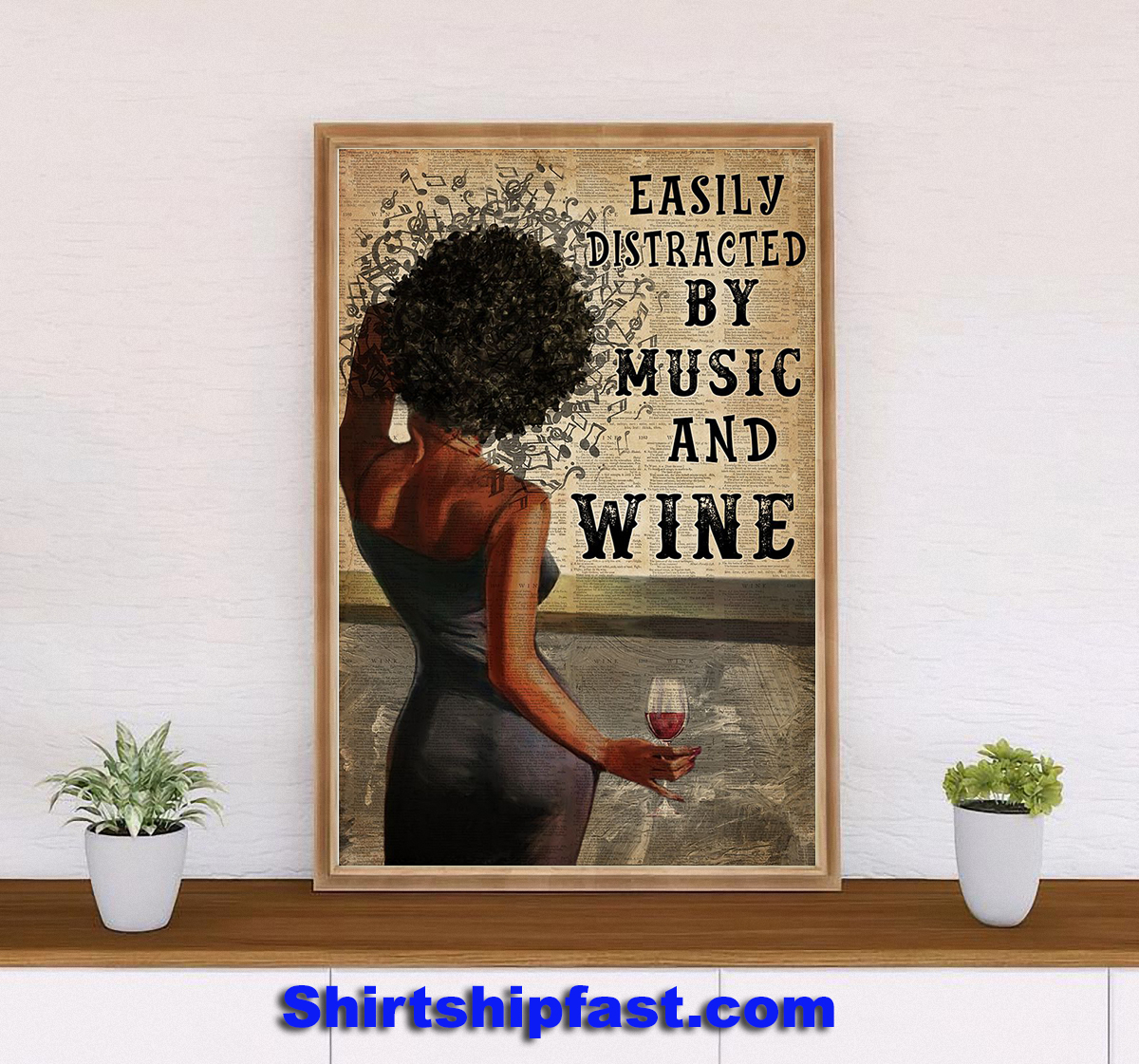 Black Woman easily distracted by music and wine canvas - Picture 2