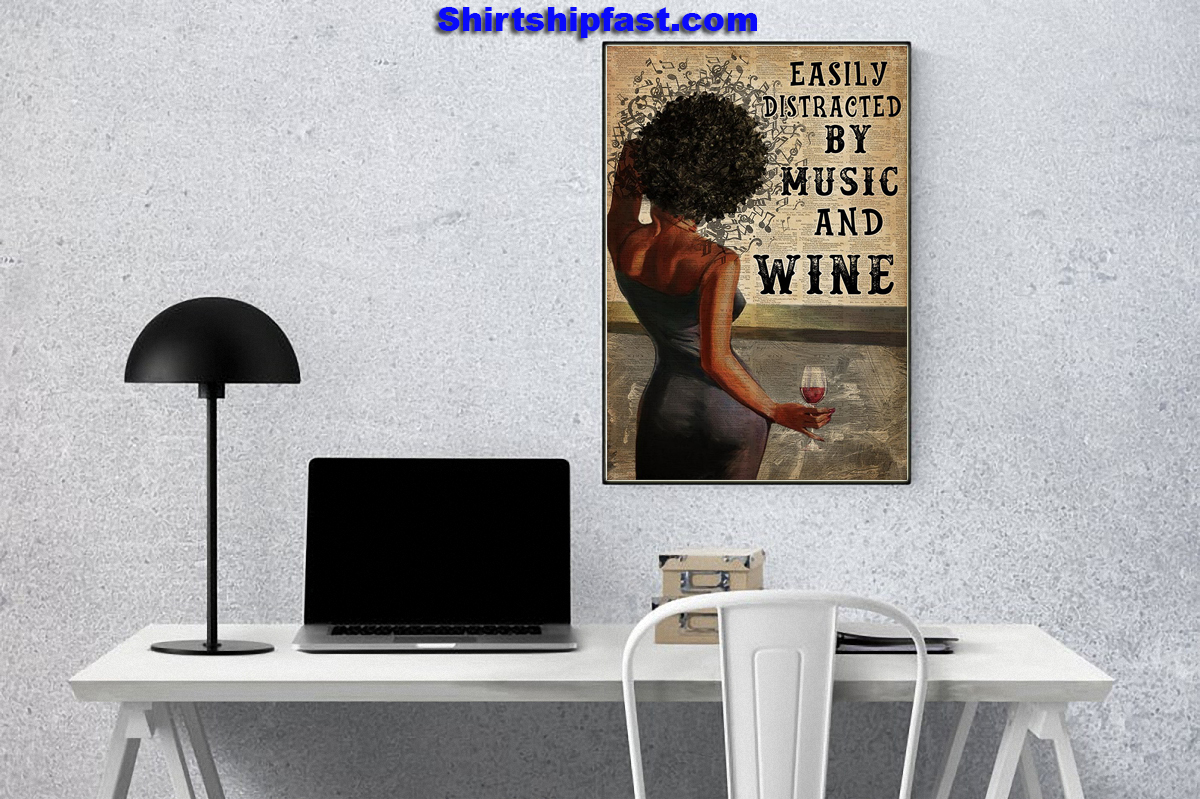 Black Woman easily distracted by music and wine canvas