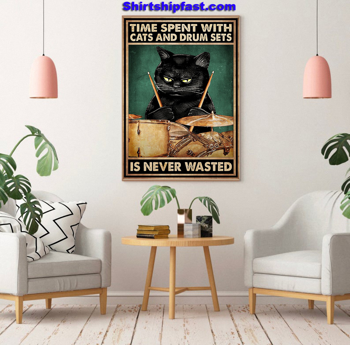 Black cat Time spent with cats and drum sets is never wasted poster - Picture 1