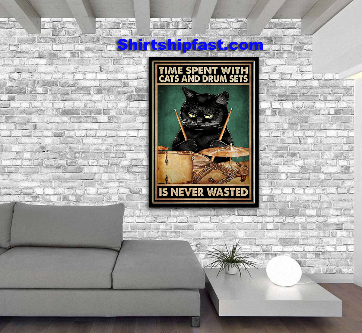 Black cat Time spent with cats and drum sets is never wasted poster - Picture 3