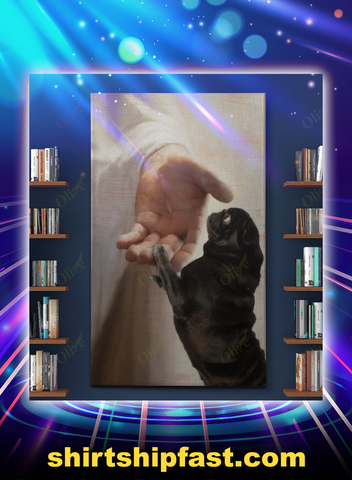 Black pug take my hand canvas - Picture 1