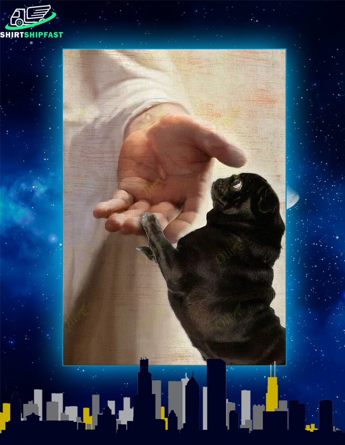 Black pug take my hand canvas - Picture 2