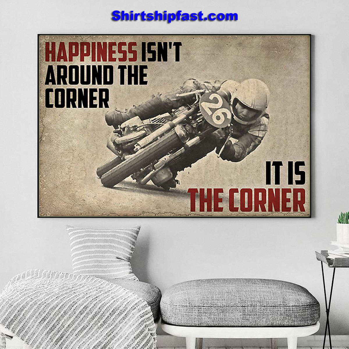 Canvas Motorcycle happiness isn't around the corner - Picture 1
