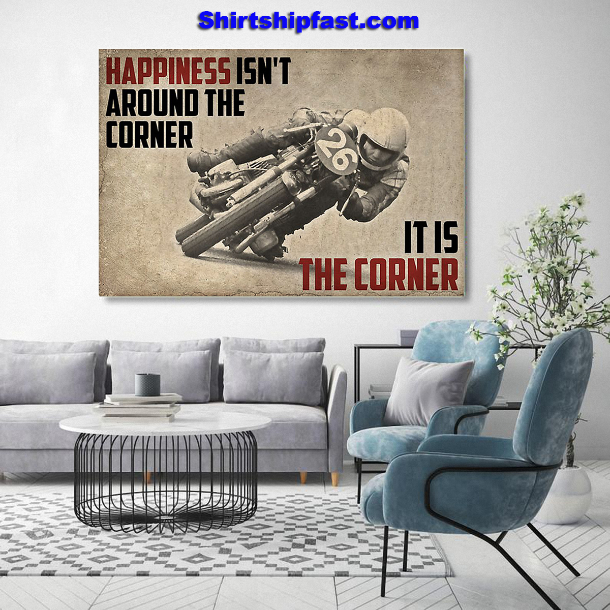 Canvas Motorcycle happiness isn't around the corner - Picture 2