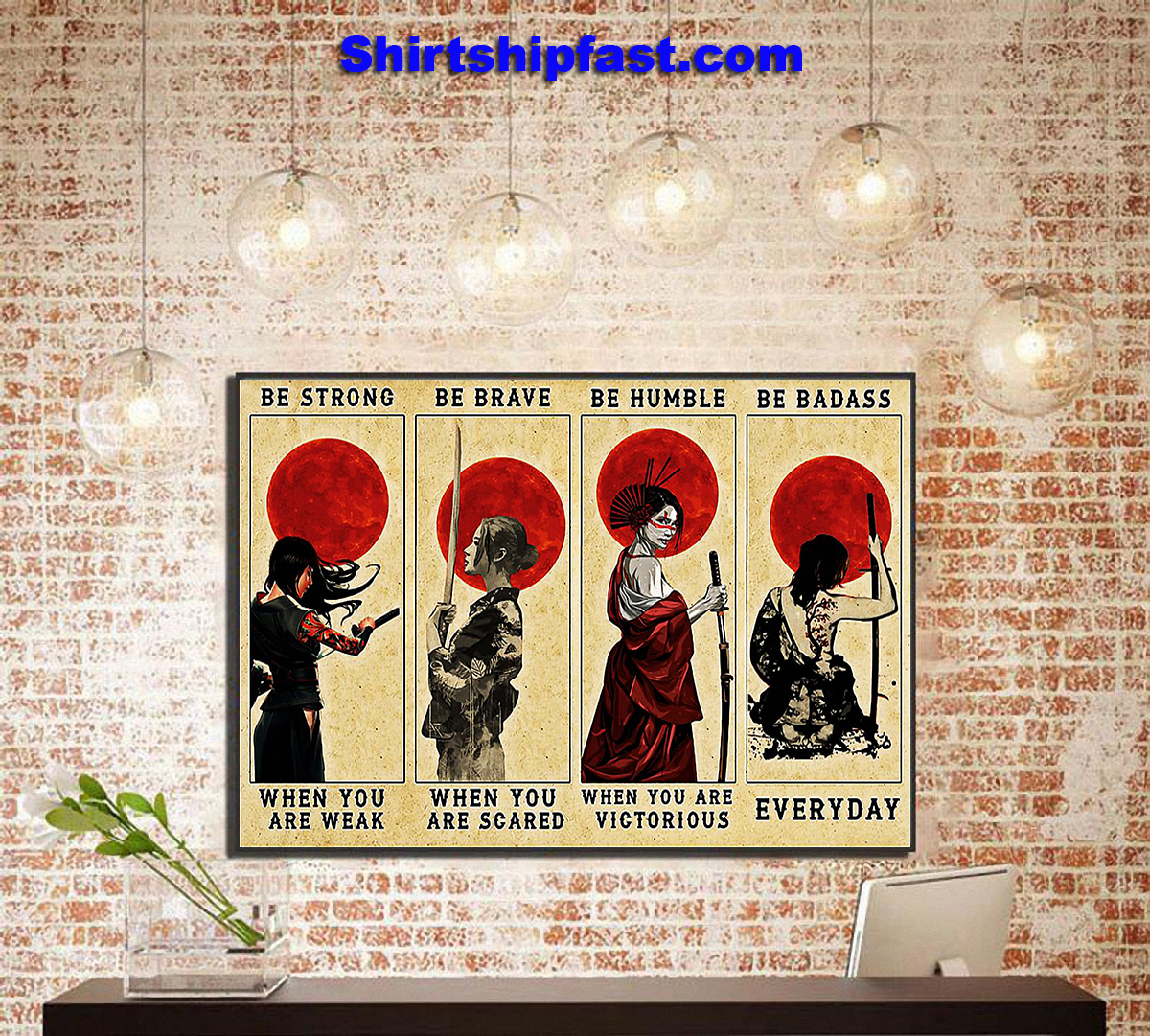 Customizable Samurai women be strong be brave be humble be badass canvas - Picture 2