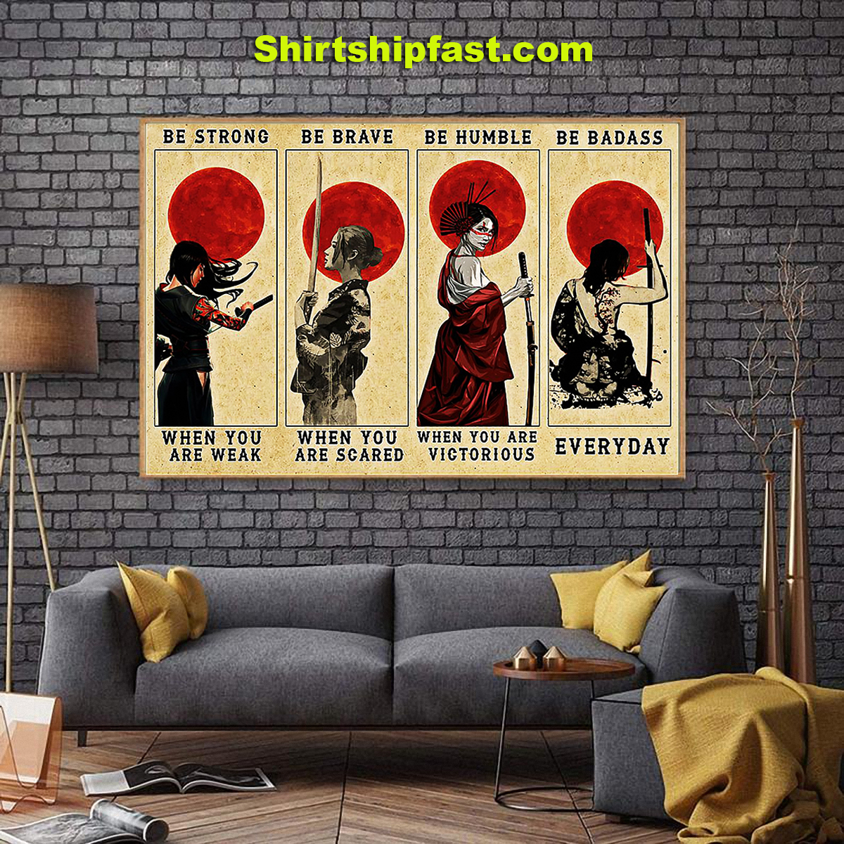Customizable Samurai women be strong be brave be humble be badass canvas - Picture 3