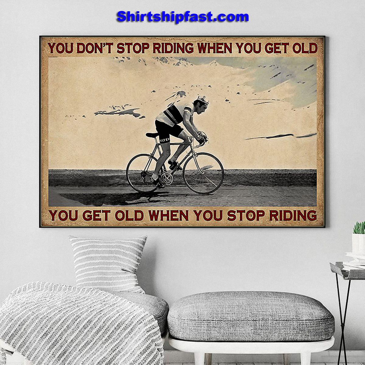 Cycling you don't stop riding when you get old canvas - Picture 3
